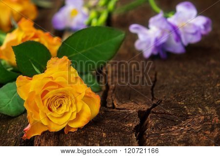 Roses And Freesias On Wood