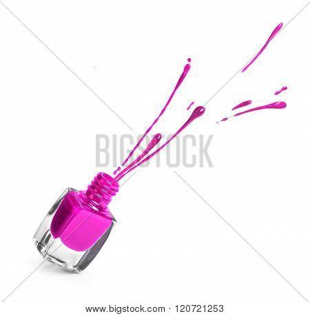 Purple  Nail Polish Bottle With Splash Isolated On White