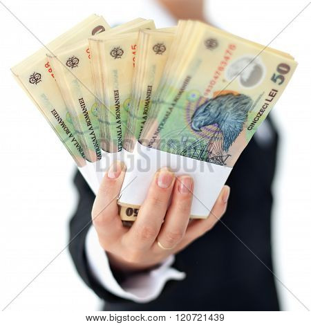 Romanian Currency In Woman Hand - Closeup, Shallow Depth