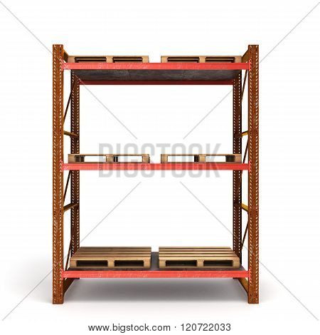 Old Rusty Shelving For Pallets With Empty Pans Isolated On White Background