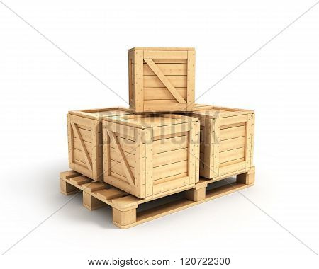 Wooden Boxes Lying On A Pallet Isolated On White