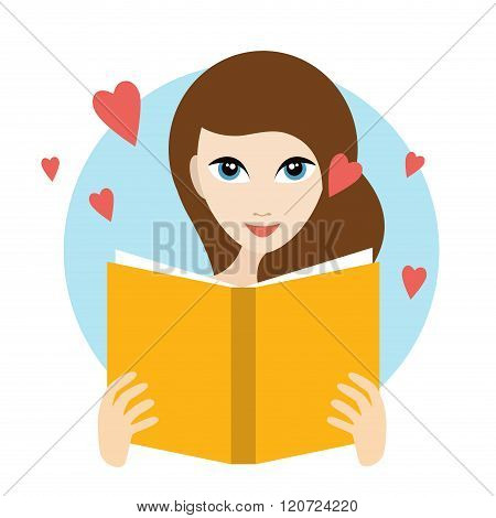 Teanager Girl Reading A Love Romance Book.