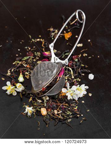 Herbal Fragrant Tea In Tea Strainer