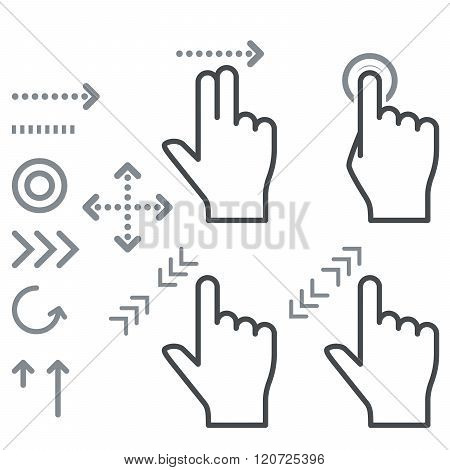 Touch Screen Gesture Hand Signs Icons