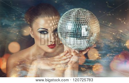 Young Woman At Night Disco Club