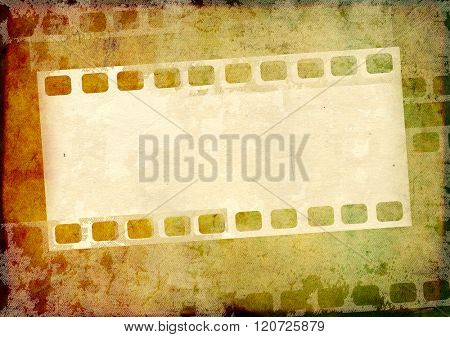 Grunge background with paper texture and filmstrips