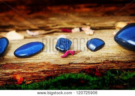 Healing Stones On Old Wood