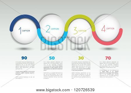 Infographic Vector Option Banner With 4 Steps. Color Spheres, Balls, Bubbles.