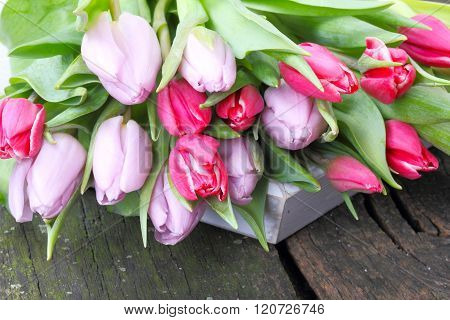 Tulips Bouquet On Wooden Tray