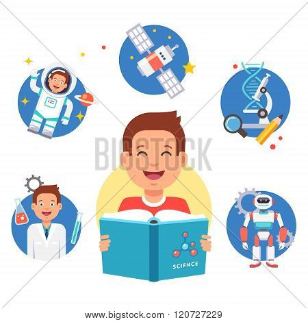 Young science learner kid