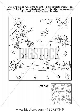 St. Patrick's Day themed dot-to-dot and coloring page
