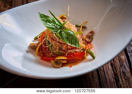 Glass noodles with mushrooms and vegetables.