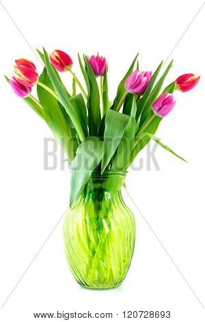 Bouquet From Tulips In Glass Vase