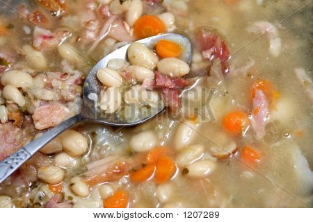 Spoon  In Bean Soup.