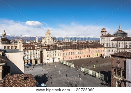 Turin,Italy,Europe - March 3,  2016 : View of Piazzetta Reale from Palazzo Madama Tower in downtown Turin