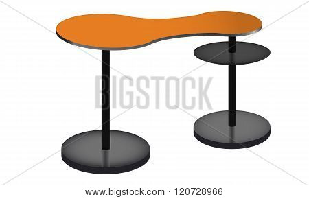 Rounded orange POS POI table with Shelves.