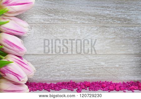 Greeting Card With Tulips And Decorative Stones