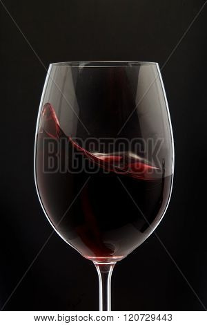 Red Wine Glass silhouette on Black
