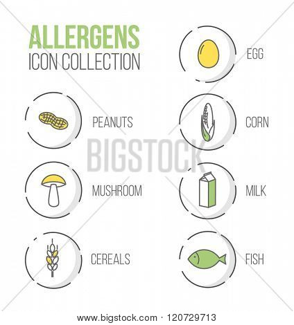 Vector icons set for allergens (milk, fish, egg, gluten, wheat, nut, lactose, corn, mushroom) - green and yellow version