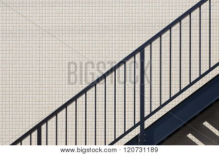 Metal Stairwell fire escape in a modern building