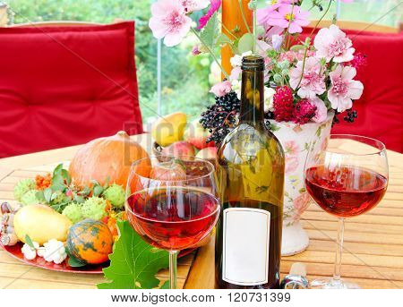 Glasses and bottle of red wine