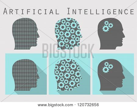 Silhouette Of Human Head. Artificial Intelligence, Head With Gears. Icon Set In A Flat Design With L