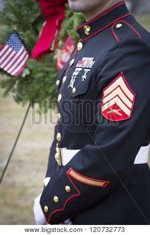 SUCCASUNNA, NJ-DEC 12, 2015: Close up view of the uniform worn by a member of the U.S. Marine Corps after the ceremonial wreath laying and memorial service for the 2015 Wreaths Across America event.