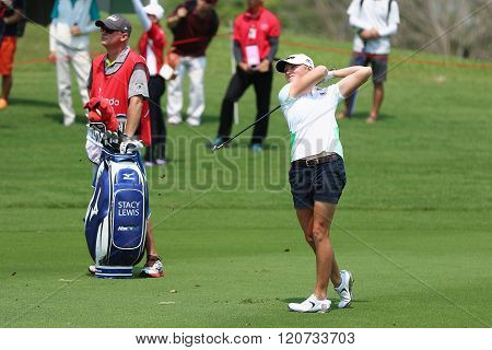PATTAYA THAILAND - February 27 2016: Stacy Lewis of USA plays the shot of the 2016 LPGA Thailand at Siam Country Club in Chonburi.