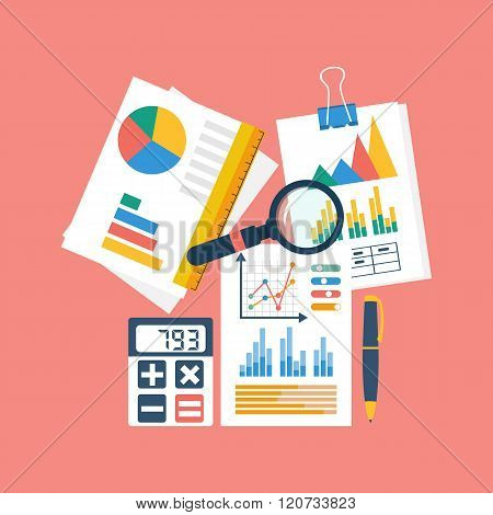 Financial Accounting Concept. Organization Process, Analytics, Research