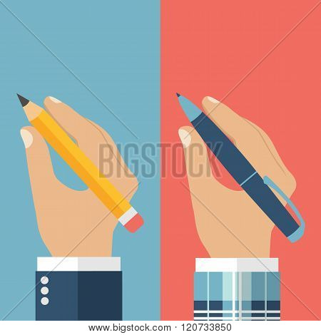 Pencil In Hand. Pen In Hand. A Man Holding A Pencil And Pen.