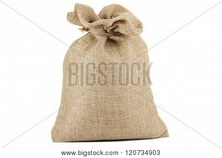 Textile - burlap sack isolated on white background with empty space