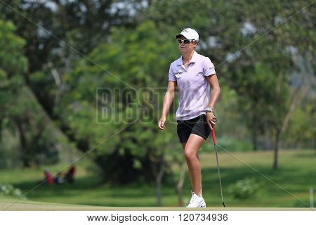 PATTAYA THAILAND - February 27 2016: Lee Anne Pace of South Africa plays the shot of the 2016 LPGA Thailand at Siam Country Club in Chonburi.