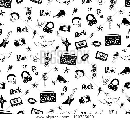 Seamless pattern. Punk rock music isolated on white background. Doodle design elements, emblems, bad