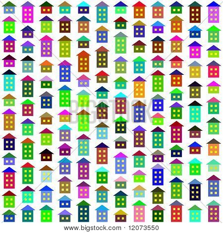 Vector seamless background with multicolor houses