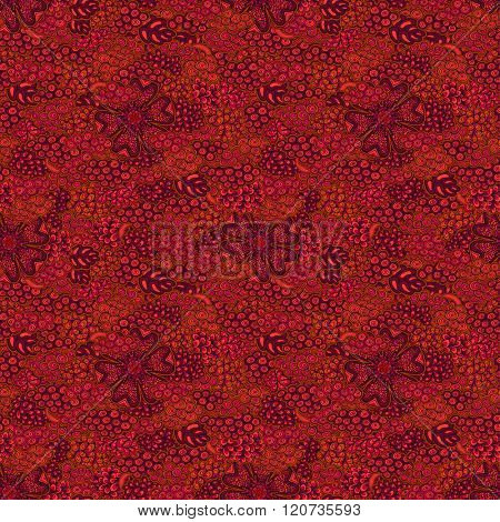 Seamless pattern. Abstract crazy doodles, red color version. Vector illustration