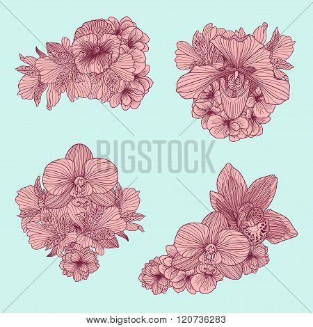 Set Of Vintage Flowers Compositions On Teal Background