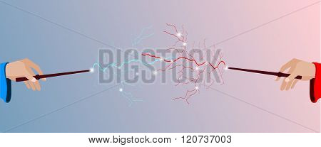 Duel magicians. Magic stick in hand. Magic lightning. Rose quartz and serenity violet background. Vector illustration.