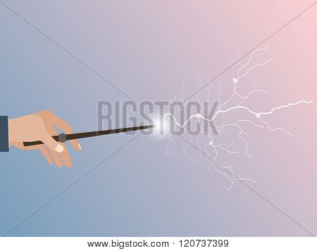 Magic Wand. Magic Stick In Hand. Magic Lightning. Rose Quartz And Serenity Violet Background. Vector