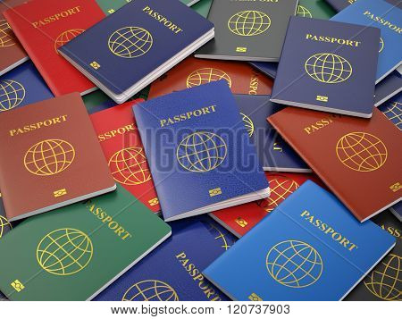 Passports, different types. Travel turism or customs concept background. 3d