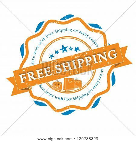 Free Shipping grunge bi-color sticker