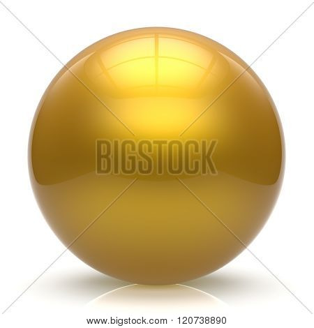 Sphere button ball yellow round basic circle geometric shape solid figure simple minimalistic element single shiny glossy sparkling object blank balloon atom icon golden. 3d render