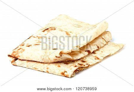 Thin Armenian Pita Bread Isolated.