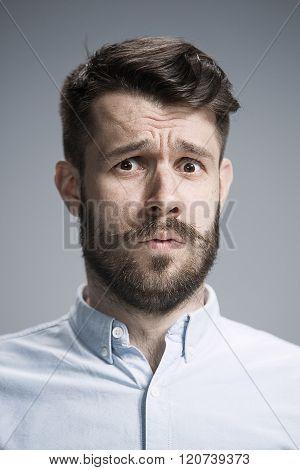 Close up face of  discouraged man