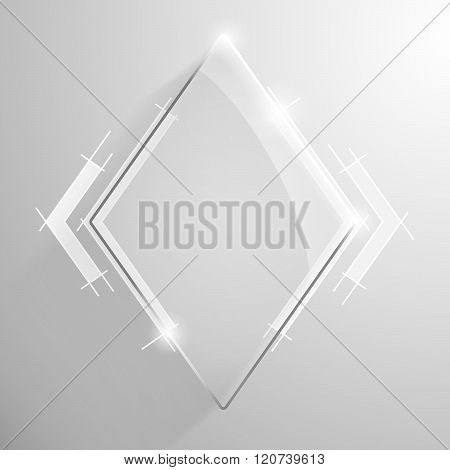 Vector glossy rhombus banner with white line.