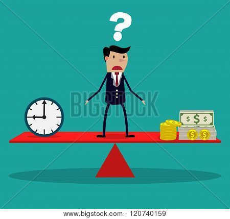 businessman making decision between time or money