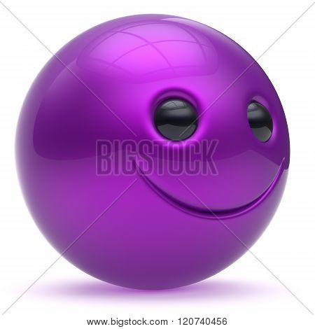 Smile face head ball cheerful sphere emoticon cartoon smiley happy decoration cute purple blue. Smiling funny joyful person laughing character avatar