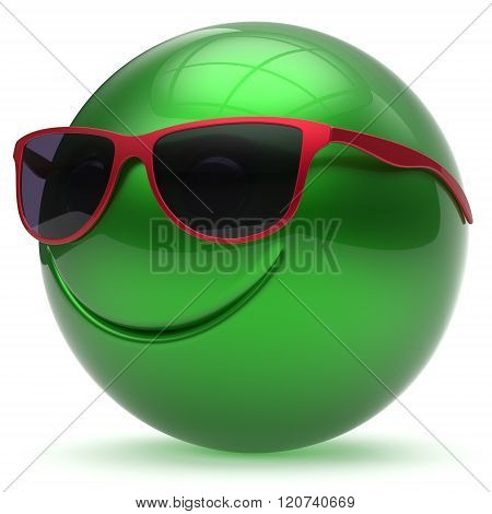Smile face head ball cheerful sphere emoticon cartoon smiley happy decoration cute green red sunglasses. Smiling funny joyful person laughing joy character toy avatar. 3d render