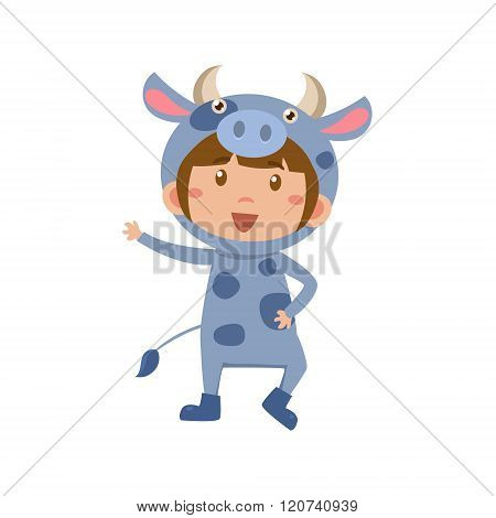 Child Wearing Costume of Cow. Vector Illustration
