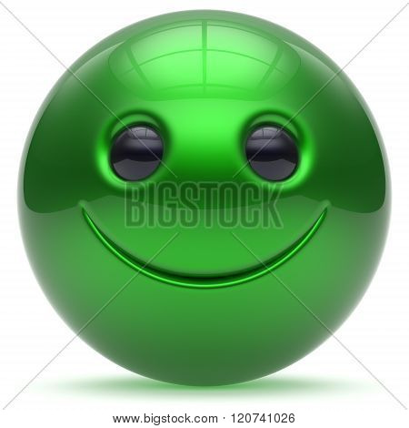 Smiling face head ball cheerful sphere emoticon cartoon smiley happy decoration cute green. Smile funny joyful person laughing joy character toy good avatar. 3d render isolated