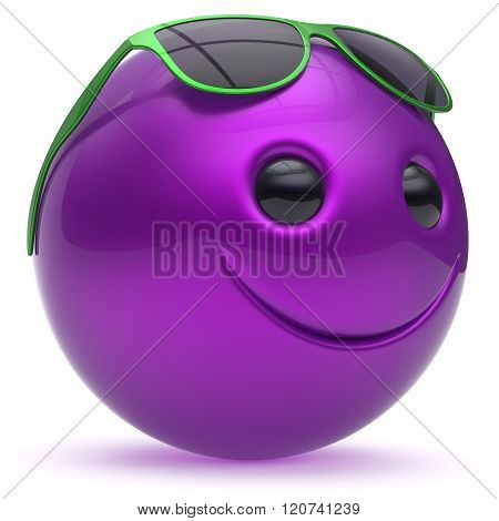 Smiley face cheerful head ball sphere emoticon cartoon smile happy decoration cute blue purple sunglasses. Smiling funny joyful person laughing joy character toy avatar. 3d render isolated